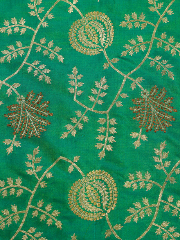 Signoraa Sea Green Banarasi Silk Unstitched Fabric-PMT010908 B-View 3