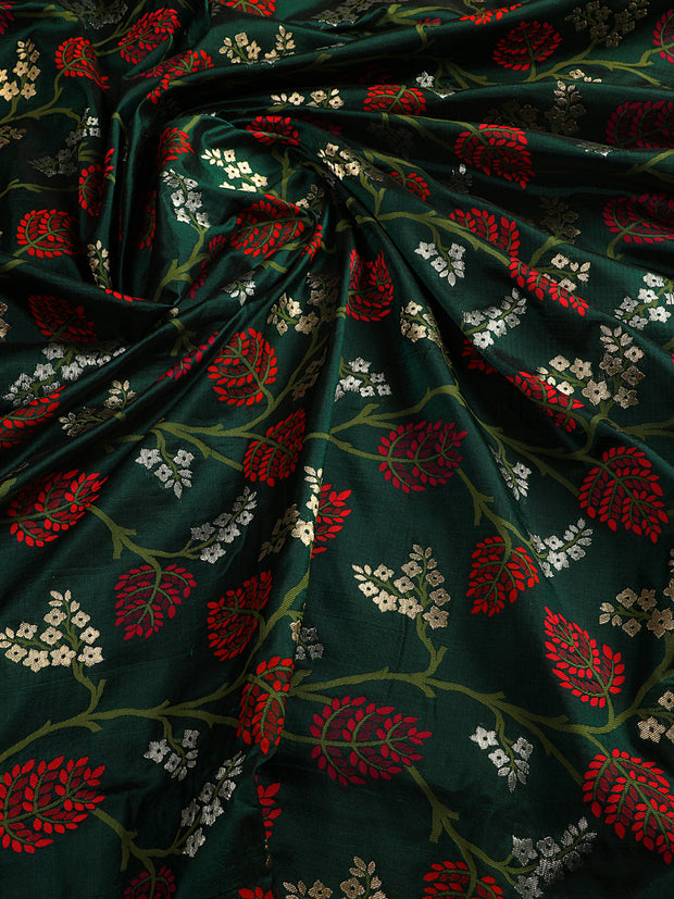 Signoraa Bottle Green Banarasi Silk Unstitched Fabric-PMT010908 A- View 2