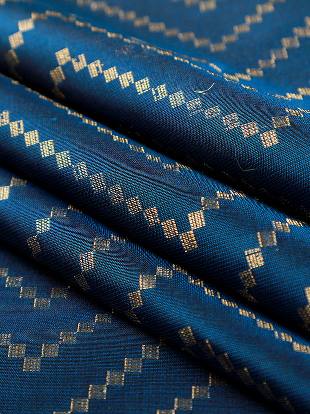 Signoraa Navy Blue Banarasi Pure Silk Unstitched Fabric-PMT011691A- View 1