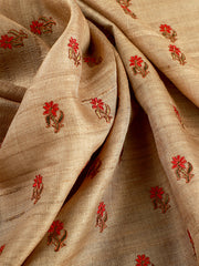 Signoraa Beige Tussar Silk Unstitched Fabric-PMT010810-View 2