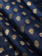 Signoraa Navy Blue Banarasi Silk Unstitched Fabric-PMT011610-View 1
