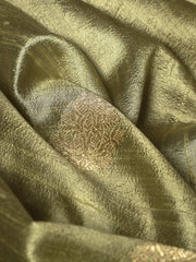 Signoraa Pastel Green Banarasi Raw Silk Unstitched Fabric-PMT010927 - View 2