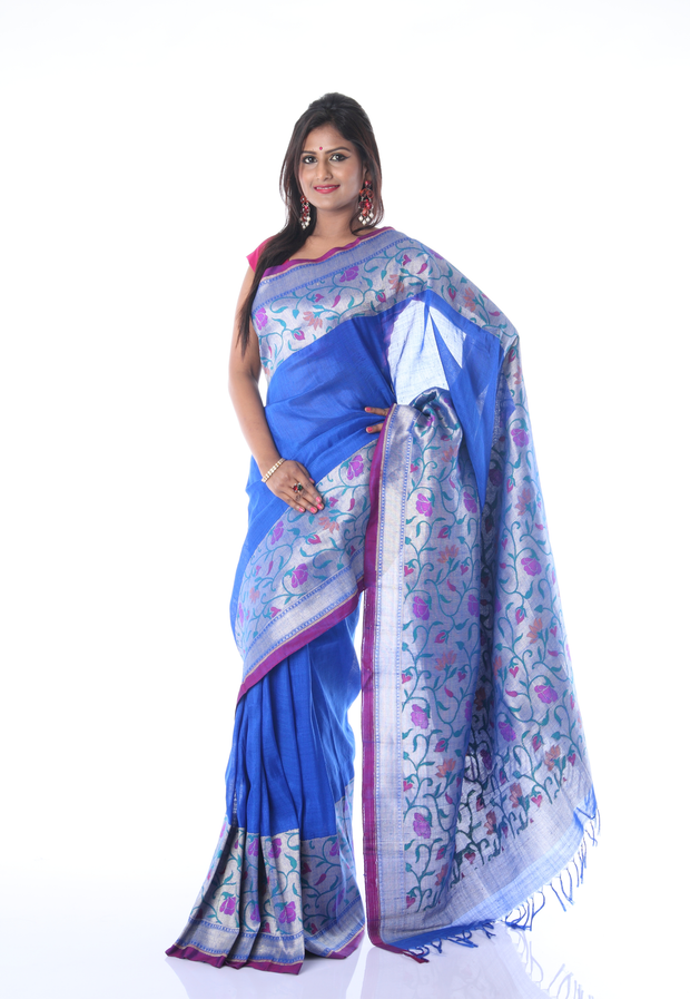 SIGNORAA ROYAL BLUE BANARASI TUSSAR SILK-BSK04620-View 1