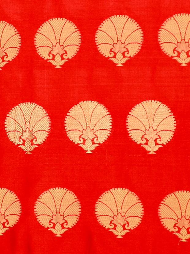 Signoraa Red Banarasi Pure Silk Unstitched Fabric-PMT10948-View 3