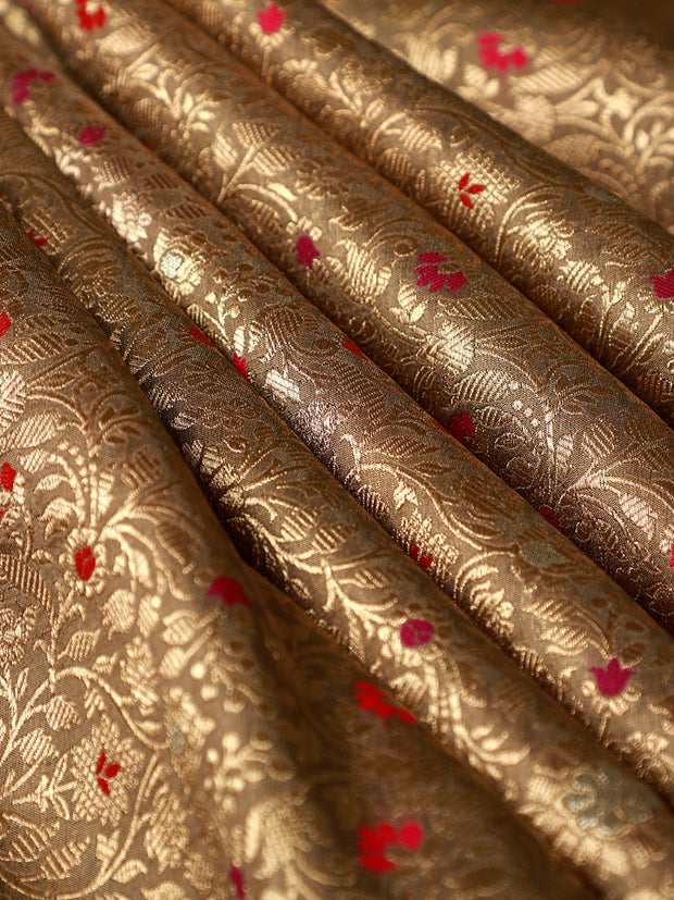 Signoraa Beige Banarasi Silk Unstitched Fabric-PMT010908 - View 1
