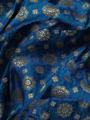 Signoraa Royal Blue Banarasi Silk Unstitched Fabric-PMT011482- View 2