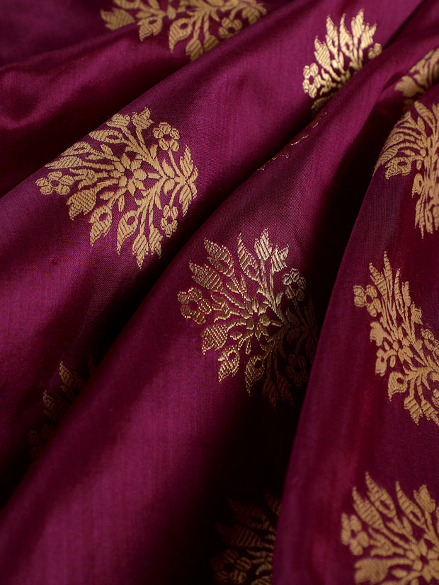 Signoraa Purple Banarasi Silk Unstitched Fabric-PMT010948- View 1