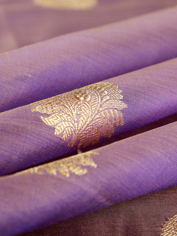 Signoraa Mauve Banarasi Silk Cotton Unstitched Fabric-PMT011318- View 1
