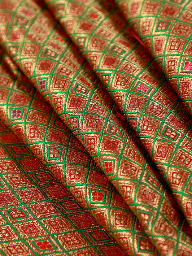 Signoraa Green Banarasi Silk Unstitched Fabric-PMT011471-View 1