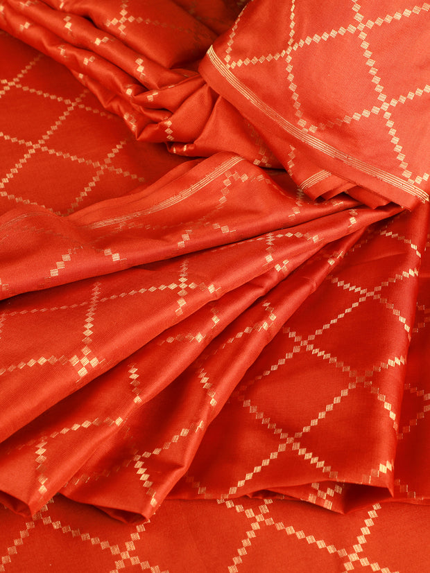 Signoraa Rust Banarasi Pure Silk Unstitched Fabric-PMT011691C-View 1