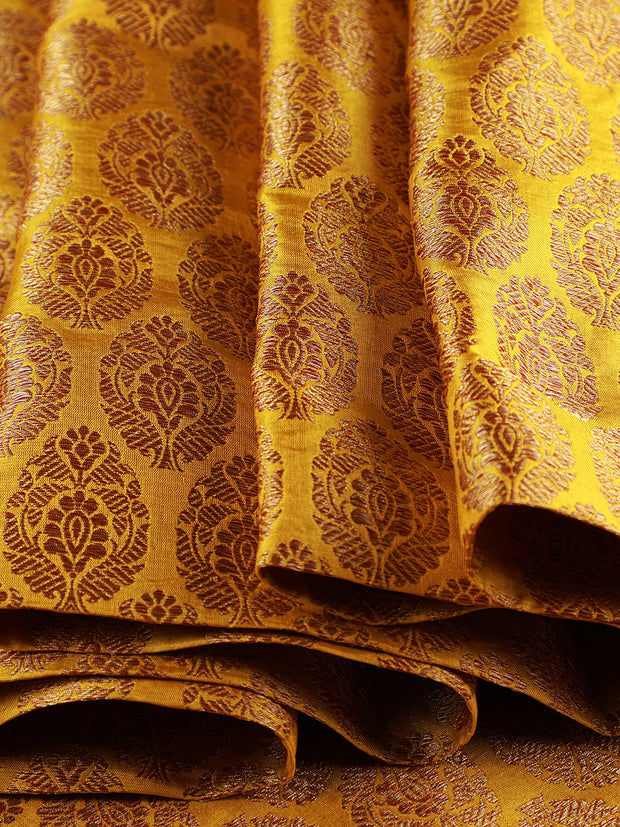 Signoraa Yellow Banarasi Silk Unstitched Fabric-PMT011381- View 1
