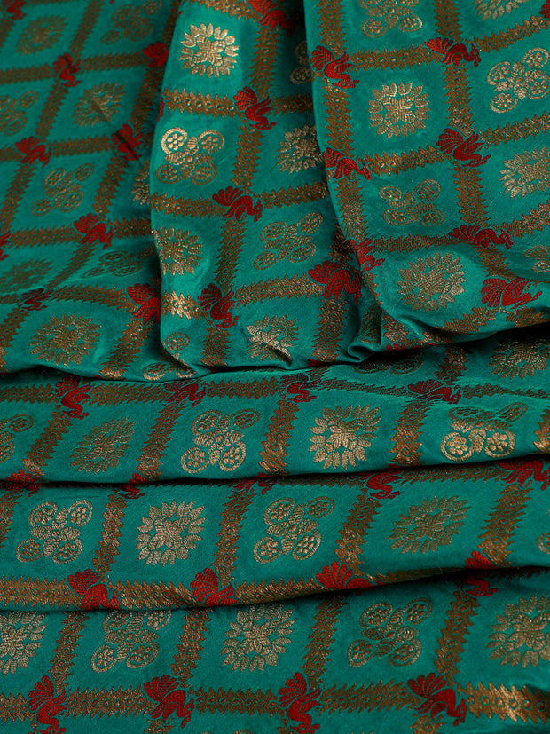 Signoraa Teal Blue Banarasi Silk Unstitched Fabric-PMT010660- View 1