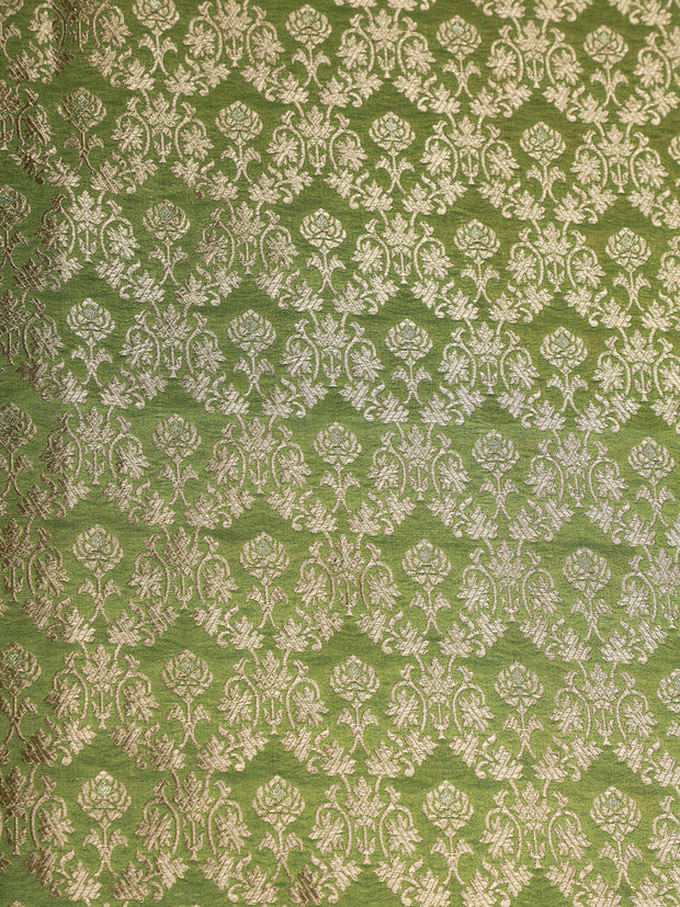 Signoraa Green Banarasi Silk Unstitched Fabric-PMT011604 - View 3