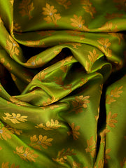 Signoraa Parrot Green Banarasi Tanchoi Silk Unstitched Fabric-PMT010906 A- View 2