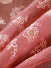 Signoraa Pink Organza Silk Unstitched Fabric-PMT011002- View 1