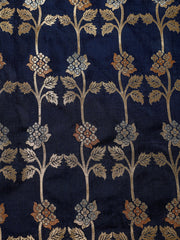 Signoraa Navy Blue Banarasi Silk Unstitched Fabric-PMT010908C- View 3