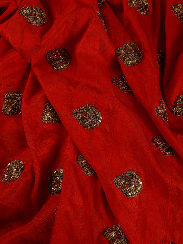 Signoraa Red Banarasi Raw Silk Unstitched Fabric-PMT010843- View 1
