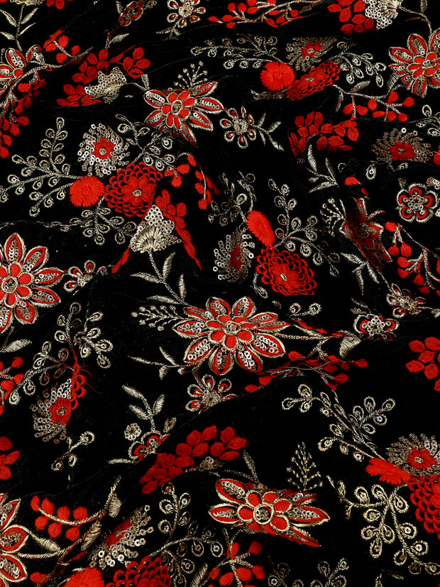 Signoraa Black Velvet Unstitched Fabric-PMT010382- View 2