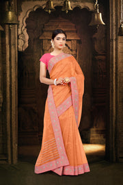 SIGNORAA PEACH TISSUE KOTA SAREE-EMB02668 -VIEW 1
