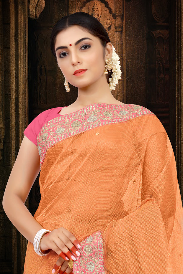 SIGNORAA PEACH TISSUE KOTA SAREE-EMB02668 - VIEW 2