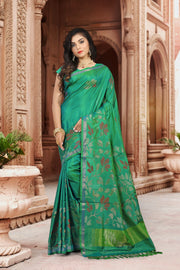 SIGNORAA SEA GREEN UPPADA SILK SAREE-OPD01518 B-View1