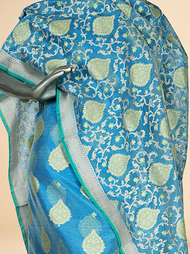 Signoraa Blue Kora Silk Unstitched Salwar Suit-SMS08083A-View 2