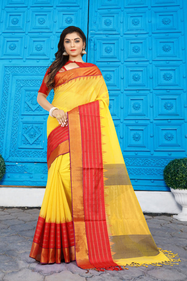 SIGNORAA YELLOW UPPADA KHADI COTTON SAREE-OPD01470-View1