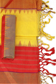 SIGNORAA YELLOW UPPADA KHADI COTTON SAREE-OPD01470-Product View
