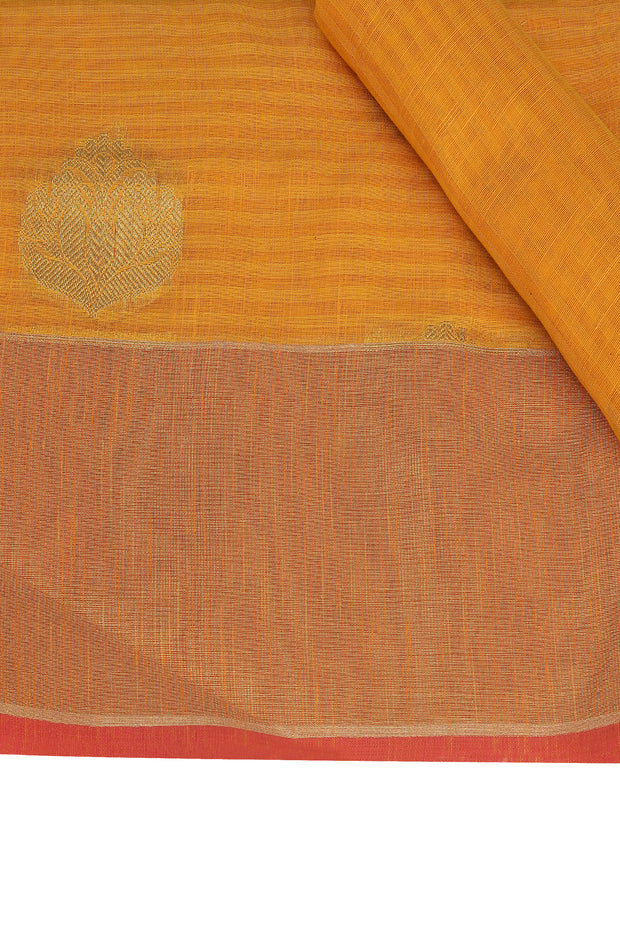 SIGNORAA MUSTARD BANARASI SILK COTTON SAREE-BSK07089 - Product View