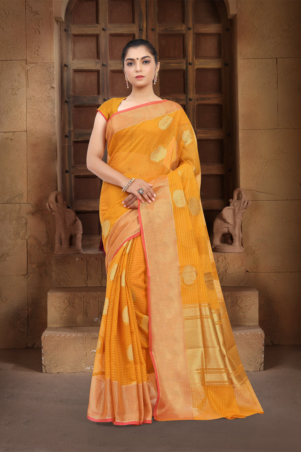 SIGNORAA MUSTARD BANARASI SILK COTTON SAREE-BSK07089 - View 1
