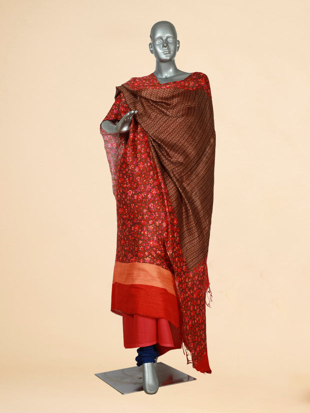 Signoraa Brown Jute Tussar Unstitched Salwar Suit-SMS06827- View 1