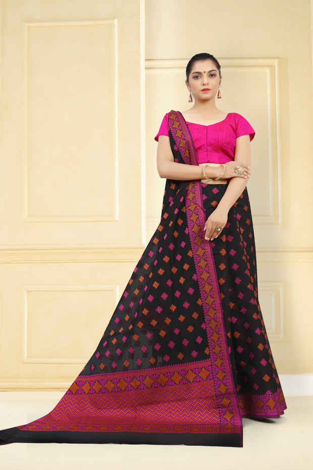 SIGNORAA BLACK FANCY BANARAS COTTON SAREE-FCT08831 - View 1