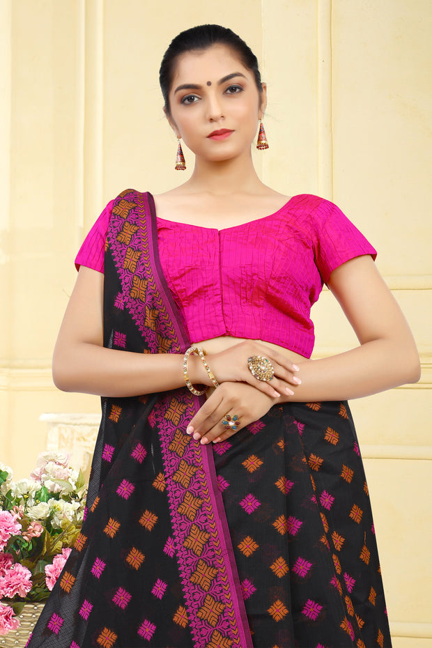 SIGNORAA BLACK FANCY BANARAS COTTON SAREE-FCT08831 - View 2