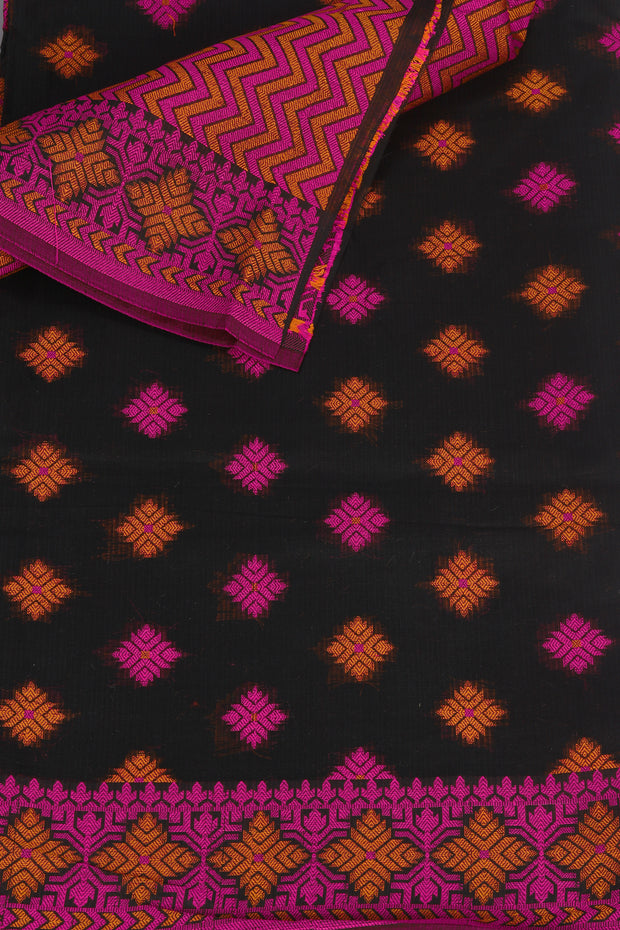 SIGNORAA BLACK FANCY BANARAS COTTON SAREE-FCT08831 - Product View
