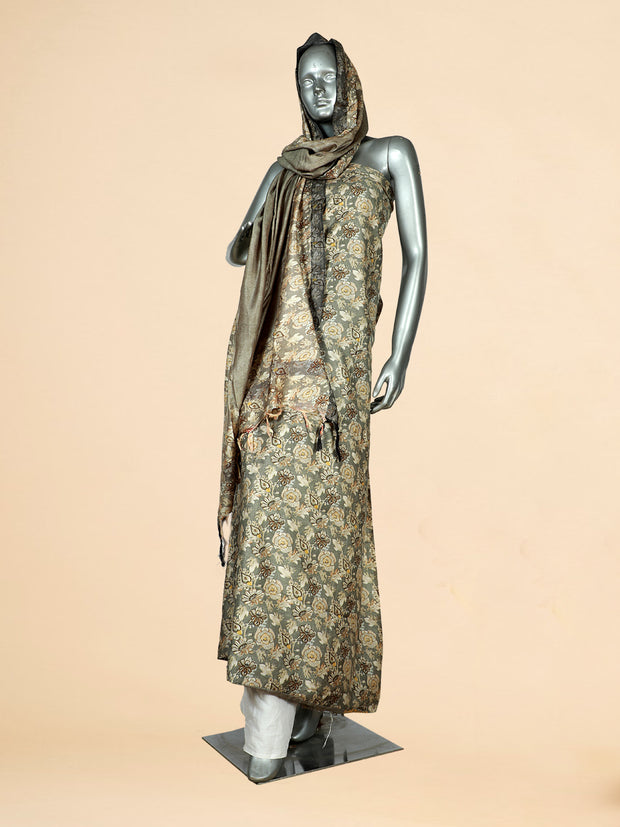 Signoraa Khaki Green Viscose Pashmina Tussar Unstitched Salwar Suit-SMS08173B- View 1
