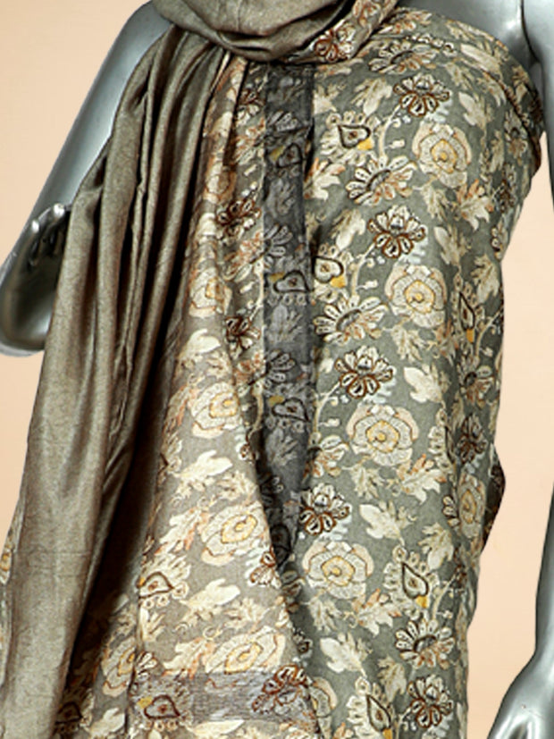 Signoraa Khaki Green Viscose Pashmina Tussar Unstitched Salwar Suit-SMS08173B- View 2