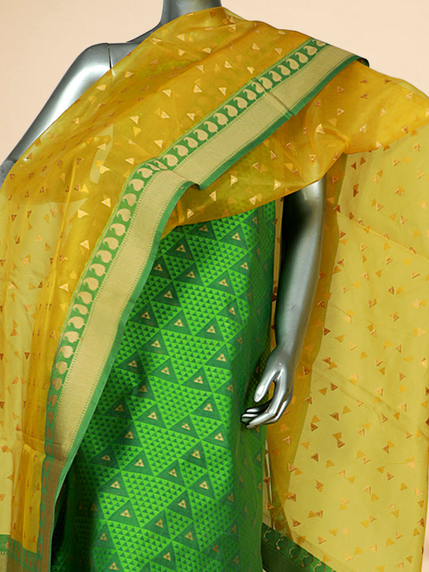Signoraa Green Cotton Unstitched Salwar Suit-SMS06572- View 2