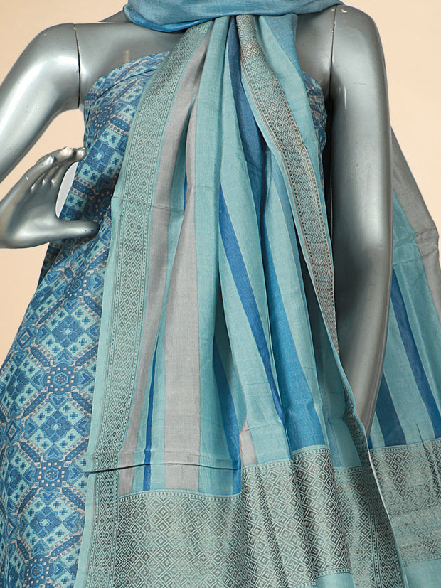 Signoraa Sky Blue Tussar Silk Unstitched Salwar Suit-SMS07574