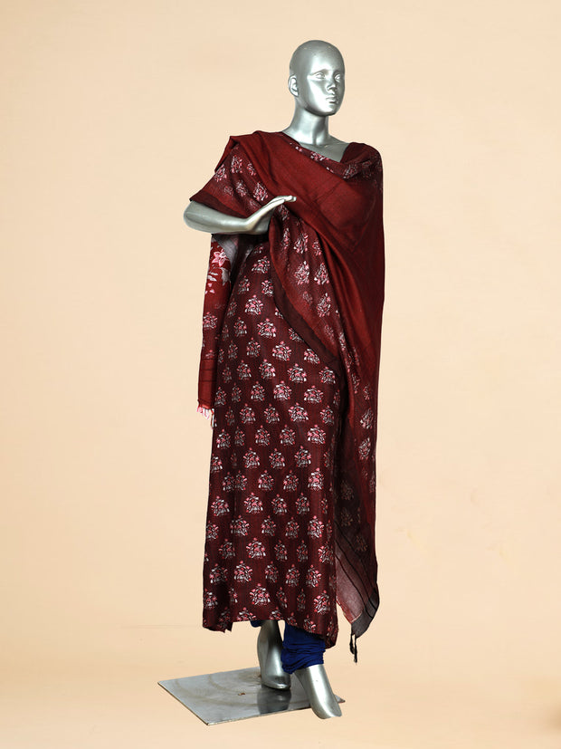 Signoraa Wine Viscose Pashmina Tussar Unstitched Salwar Suit-SMS08173- View 1
