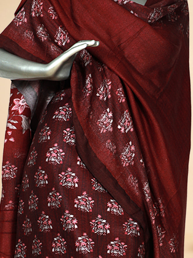 Signoraa Wine Viscose Pashmina Tussar Unstitched Salwar Suit-SMS08173- View 2
