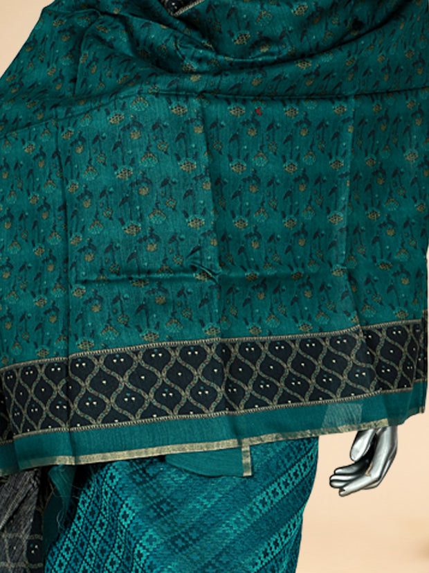 Signoraa Peacock Blue Soft Tussar Unstitched Salwar Suit-SMS08172-View 2