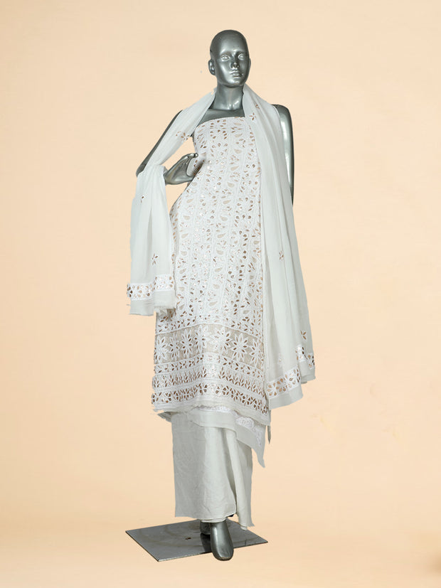 Signoraa White Georgette Unstitched Salwar Suit-SMS07650-View 1
