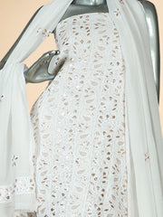 Signoraa White Georgette Unstitched Salwar Suit-SMS07650-View 2