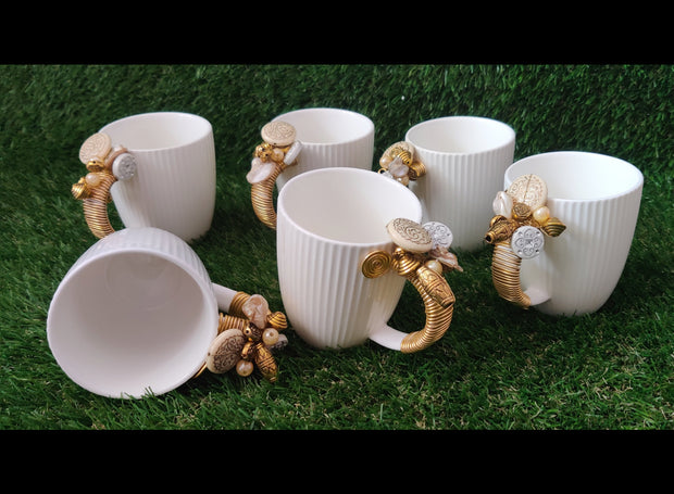 White Golden Wired Tea Cups