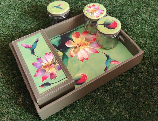 Leatherette Trays with Jars and Tea Box
