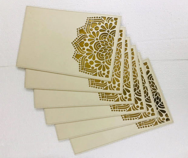 Leatherette Laser Cut Table Mats - Set of 6 mats -View 1