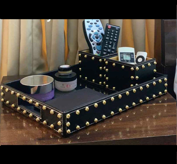 Leatherette Studded Bedside/ Office Tray
