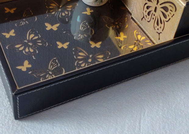 Leatherette Black Butterfly Tray with Laser Cut work -1