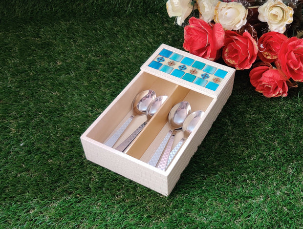 Premium Leatherette Mosaic Work Cutlery Tray