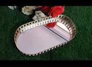 Metal Mirror Oval Tray